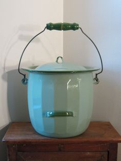 Green Enamel Chamber Pot / Slop Bucket by Natural Vintage on Etsy - SOLD