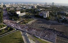 Hundreds of thousands of people march through Havana's Revolution Square during the May Day parade, May 1, 2012.   REUTERS/Javier Galeano/Pool
