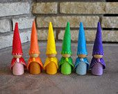 Rainbow Wooden and Felt Peg Doll Gnomes - Set of 6 - A Waldorf and Montessori Inspired Wooden and Felt Toy