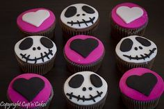 2014 Halloween nightmare before Christmas cupcakes with heart and Jack