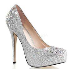 Silver heels: when glitz and glamour meet silver heels fabulicious destiny silver glitter mesh fabric GQJNRJQ Silver Glitter Pumps, Silver High Heel Shoes, Silver Heels, High Heel Pumps, Pump Shoes, Stiletto Heels, Silver Rhinestone, Platform Pumps, Glitter Hair