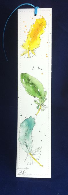 Watercolor Bookmark of Colorful Feathers