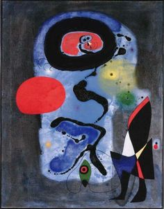 "surrealism-love: "" The Red Sun, Joan Miro Medium: gouache, oil"" Spanish Painters, Spanish Artists, Modern Oil Painting, Oil Painting Abstract, Miro Artist, Joan Miro Paintings, Portrait Paintings, Francis Picabia, Popular Paintings"