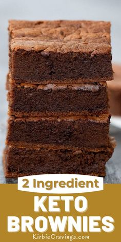 These keto-friendly brownies are rich, full of chocolate flavor, & just 2 ingredients. They don't require any flour or low carb flour alternatives. These brownies only take about 30 minutes to make, including baking time. Just 1 net carb per serving. Paleo Dessert, Healthy Dessert Recipes, Easy Desserts, Keto Recipes, Keto Desserts, Easy Chocolate Desserts, Chocolate Flavors, Keto Friendly Chocolate, Low Carb Flour