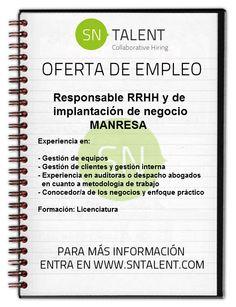 #Empleo Responsable #RRHH y de Implantación de Negocio en #Manresa