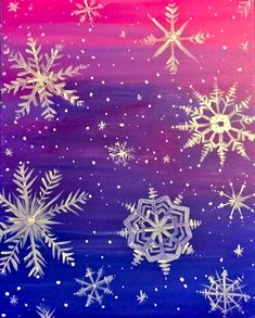Paint Nite - Snowflakes at Sunset. Use ORLANDOVIP at checkout for $20 off all tickets http://paintnite.com