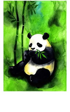 I LOVE THIS!! - Panda Bear Watercolor Illustration Print by BarbaraSzepesiSzucs, $20.00