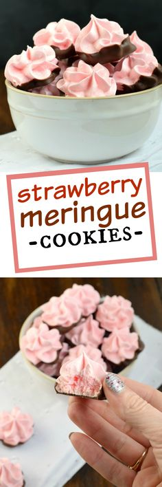 Delicious, festive, melt in your mouth Strawberry Meringues dipped in chocolate! My favorite cookie recipe!: