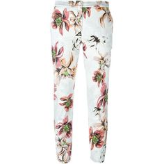 Blumarine Stretch Flower Print Trousers ($478) ❤ liked on Polyvore featuring pants, capris, multicolour, cropped trousers, zipper pants, cropped pants, white floral pants and white crop pants