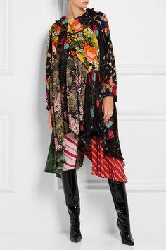 Balenciaga - Printed Crepe De Chine, Silk And Stretch-jersey Dress - Red - FR3