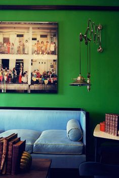 Dolores Suarez and Caroline Grant are the designers behind Soho based design firm Dekar Desi.Green paint walls at home Beautiful Kitchens, Beautiful Interiors, Behind The Green Door, Interior Decorating, Interior Design, Lounge, Home Living Room, My Dream Home, House Colors