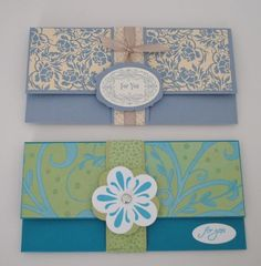 Money holders!         Money holder specs:  To make these: 7 x 9 piece of card stock,  score at 2 an 6.5incheson the long side     clic...