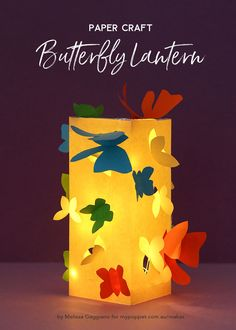 Paper Craft – Make a Butterfly Lantern - Paper ideas Diy Butterfly Decorations, Diy Diwali Decorations, Lantern Crafts, Light Crafts, Kids Lantern, Lantern Diy, Diwali Diy, Diwali Craft, Crafts To Make