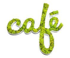 Décoration murale CAFÉ carton et végétaux, blanc et vert - 40*40