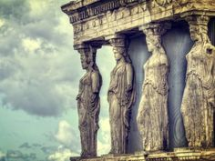 Caryatids in Erechtheum from Athenian Acropolis,Greece - stock photo Acropolis Greece, Attica Greece, Places Around The World, Around The Worlds, Greece Art, Sacred Feminine, Building Art, Ancient Greece, Art And Architecture