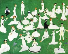 'Rest. Society in Top Hats' gouache on cardboard / 23.8 x 30.2 cm / Kazimir Malevich - 1908 - via - Cybermusee.com