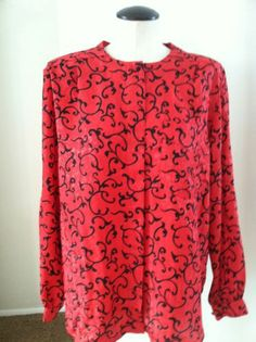 Vintage Red and Black Blouse/Shirt With Roll Sleeve Option