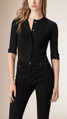 Black Bib Detail Silk Shirt - $385
