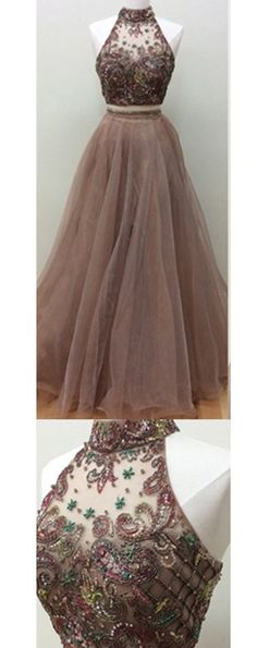 Glamorous Two-Piece A-Line Floor-Length Ball Gown Prom Dress with Beading