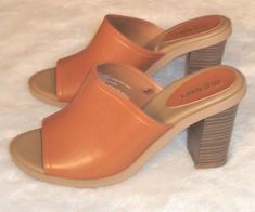 fdd4723e055 Old Navy Sz 6 Women s Leather Chunky Heel Open Toe Mules Slides  OldNavy   OpenToe