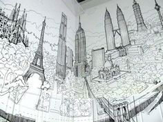 Global City: A Sprawling Mural Drawn on the Walls and Cabinets of a Kitchen by Deck Two