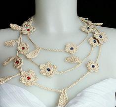Crochet necklace beaded crochet necklace oya necklace