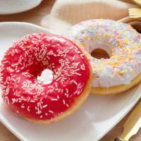_ga- baked donuts 5 Tbs. butter, softened (unsalted) 1/2 C. sugar 1 egg 1/2 C. whole milk 1 tsp. vanilla  Coupons 2 tsp. baking powder 1 pinch of salt 1 C. all-purpose flour 1 container vanilla frosting 2 T. sprinkles 350x10