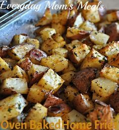 Oven Baked Home Fries 5-6 large red potatoes, cut into 1 inch cubes 1/4 c. vegetable oil 2 tsp. all purpose seasoning 2 tsp. paprika 1 tsp. dried parsley Salt and Pepper to taste