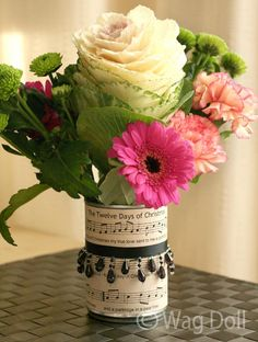 How to make a Christmas music covered recycled vase · Recycled Crafts | CraftGossip.com
