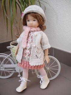 Handknitted-OUTFIT-for-LITTLE-DARLING-doll-13-inches-Dianna-Effner