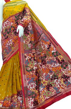 Multicolor Pure Silk Embroidered Kantha Saree Product Code: LWKSB393