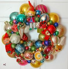 Beautiful Christmas wreath made from vintage ornaments ~ from GeorgiaPeachez
