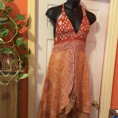 Summer halter dress Halter dress with double layered flare bottom Dresses Midi