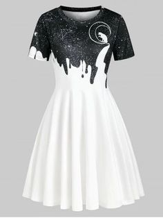 Cat Moon Starry Sky Print Short Sleeve Dress Source by clothes design Teen Fashion Outfits, Mode Outfits, Cute Fashion, Dress Outfits, Fashion Dresses, Fashion Site, Men Fashion, Dress Shoes, Cheap Fashion