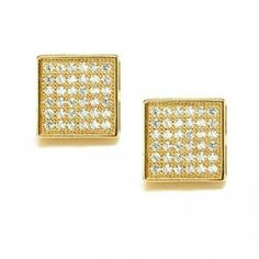 Bling Jewelry Mens Micro Pave CZ Gold Vermeil Square Stud Earrings 5mm