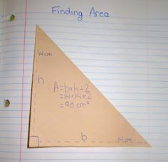 Area of a triangle and rectangle foldable