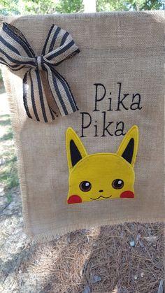 Garden Flag, Burlap Garden Flag, Pokemon Inspired Flag, Burlap Flag, Pika Pika Flag, Pikachu Inspired Flag, Outdoor yard art, Teacher Gift by…