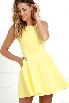 The next time you're packing a suitcase, the oh-so-versatile Wanderlust Yellow Skater Dress will be the first thing you'll want to bring along! Flattering princess seams lay below a rounded neckline and swooping back, while a knit skater skirt (with side-seam pockets) flares from a fitted waist. Hidden back zipper.