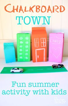 Chalkboard town: Fun summer activity with kids! Create a chalkboard town using recycled containers and craft paint. Design Dazzle #summercamp