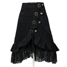 Women's Steampunk Gothic Clothing Vintage Cotton Lace Skirts Black Gypsy Hippie Black Small
