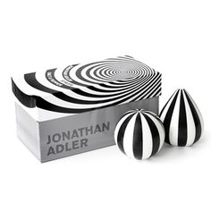 Black and white striped jonathan adler salt & pepper set
