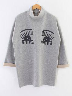 Light Grey Long Sleeve Eyes Embroidery Sweatshirt zł109.59