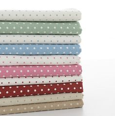 140cm / 55 inch Width, Two Tone Backgrounded Polka Dotted Linen Cotton Fabric, Half Yard