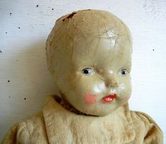 Creepy Doll | Blue Eyes | Scary Composition Doll | Cracked Chipped Haunted