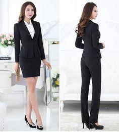 3acaa31a2f Tienda Online Trajes pantalón formales para mujeres trajes de negocios para  conjuntos de ropa de trabajo chaqueta gris para mujer oficina estilos  uniformes ...