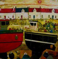 Fishermans Row by Gordon Wilson Art Clipart, Naive Art, Paint Shop, Textile Patterns, Pattern Wallpaper, Creative Inspiration, Color Blocking, Beaches, Folk Art