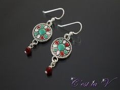 Boho Crystal Silver loop earrings. Includes silver charms (with flower pattern) and 2 Swarovski crystals (in siam)  $32    Etsy Store: https://www.etsy.com/ca/shop/cestlavjewelry?ref=hdr_shop_menu
