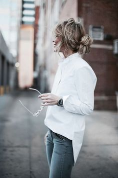 crisp white shirt and messy hair. my kind of style