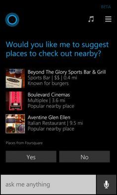 Η Cortana του Windows Phone προτείνει πλέον Foursquare τοποθεσίες - #SocialMedia #Foursquare #WindowsPhone