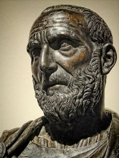 Closeup of a Bust of Lucius Junius Brutus one of the first co-consuls of the Roman Republic by Ludovico Lombardo 1550 CE Bronze, a photo by mharrsch
